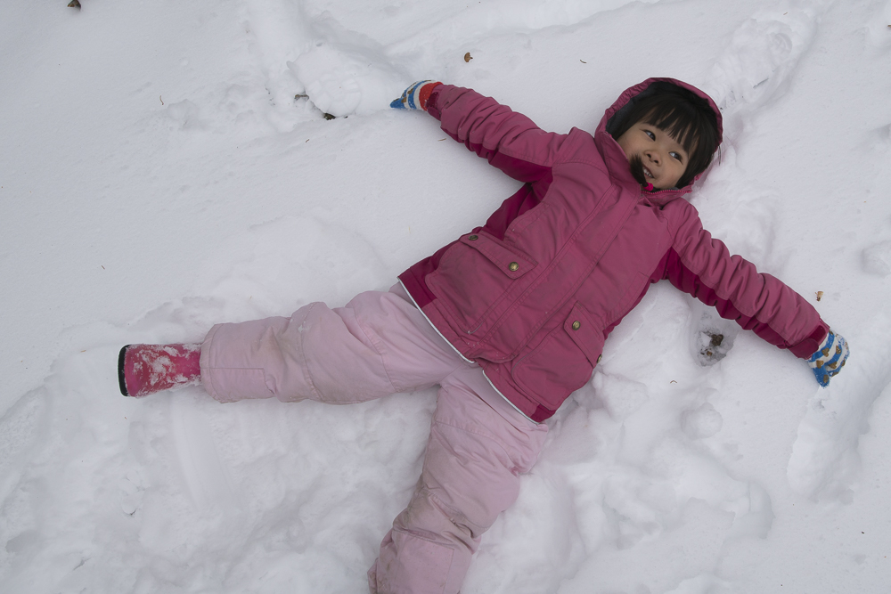 Q's version of her snow angel.