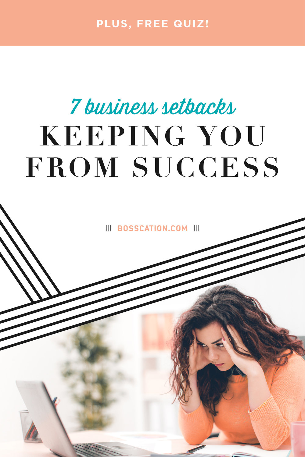 "Do you have great ideas, but never implement them? Do you find yourself ""stuck"" and aren't sure how to move forward? Here are 7 business setbacks that are keeping you from success. PLUS, take our free quiz to find out what YOUR biggest setback is, so you can learn how to break free and strive for success! Read more at www.Bosscation.com  Bosscation is a business retreat in a box for entrepreneurs to escape from their daily hustle to strategically plan for their business. Our secret sauce is in the strategic planning guides for launching a new offer, planning out your content, or finding your path to profit."