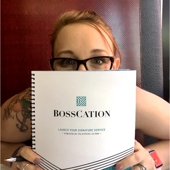 Review and testimonial of the Bosscation strategic business planner: Launch Your Signature Service. he content helped us explore, dive into, sort through, and discover more about our business and launch than we ever expected and it really felt like it helped us uplevel our entire offering and launch plan.
