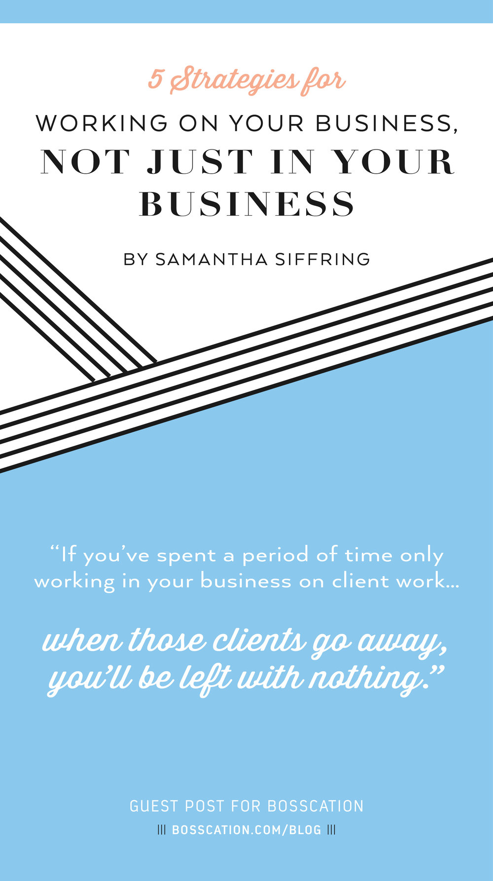 Don't get stuck working IN your business, caught up with busywork and client projects, rather than setting yourself up for long-term success.