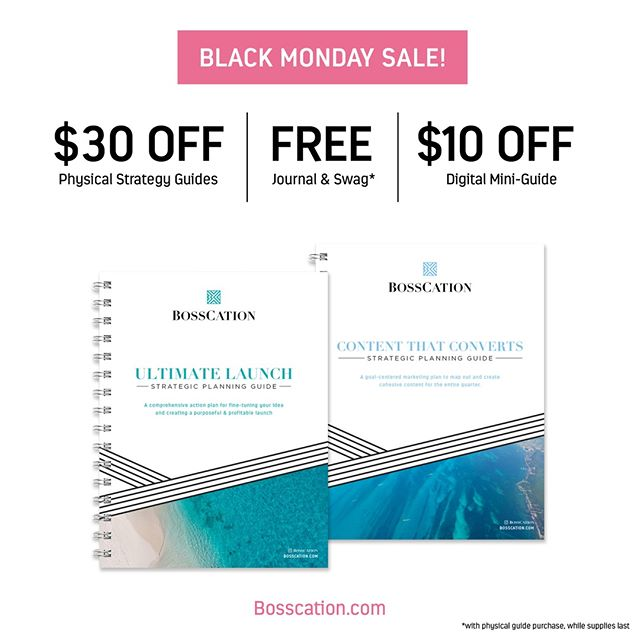 It's BLACK MONDAY!  Ok, ok… so Black Monday isn't a thing. But my name is Lauren Black. And it's Monday. Plus, I have an awesome sale for you… so I'm calling it Black Monday!  Today through Wednesday, grab a physical strategy guide for $30 off — SAY WHAT?! or a digital guide fro $10 off. Plus, fast-action takers will get a FREE journal and Bosscation swag* with their purchase! Woohoo!  Shop now at Bosscation.com *Physical guides only, while supplies last  #takebackyourbiz #bosscation #beingboss #gritandvirtue #femaleentrepreneur #savvybusinessowner #entrepreneurmindset #millionairemindset #tnchustler #dreambigger #savvybusinessowners #workfromanywhere #hardworkpaysoff #hustlewithease #youbelong #dreamersanddoers #pursueyourpassion #creativityfound #mycreativebiz #makersgonnamake #Creativeempire #creativelifehappylife #beyourownboss #fueledwithheart #ladypreneur #GoalDigger #workhardplayhard #bossladymindset  #escapetocreate #smallbizowner