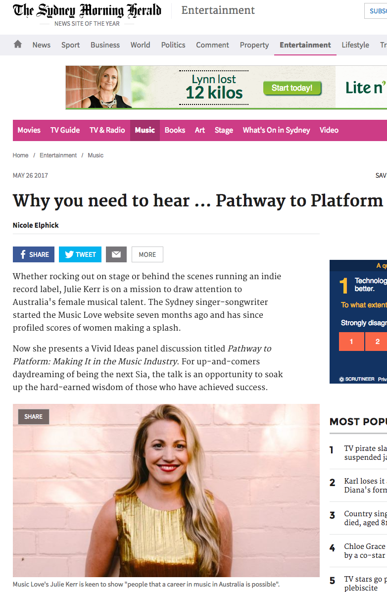May 2017: Julie Kerr in the Sydney Morning Herald: Why You Need to hear... Pathway to Platform