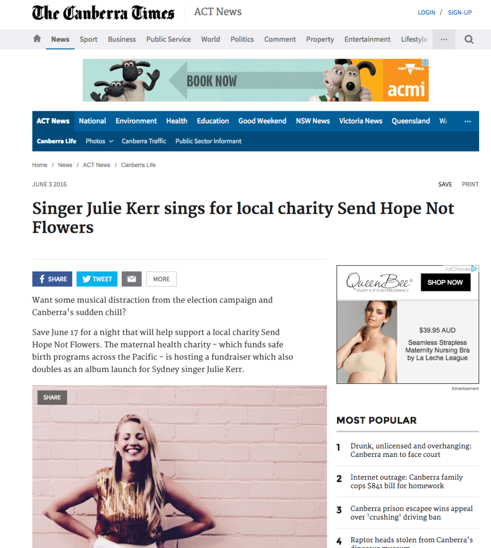 June 2016: Julie Kerr in the Canberra Times: Singer Julie Kerr sings for local charity Send Hope Not Flowers
