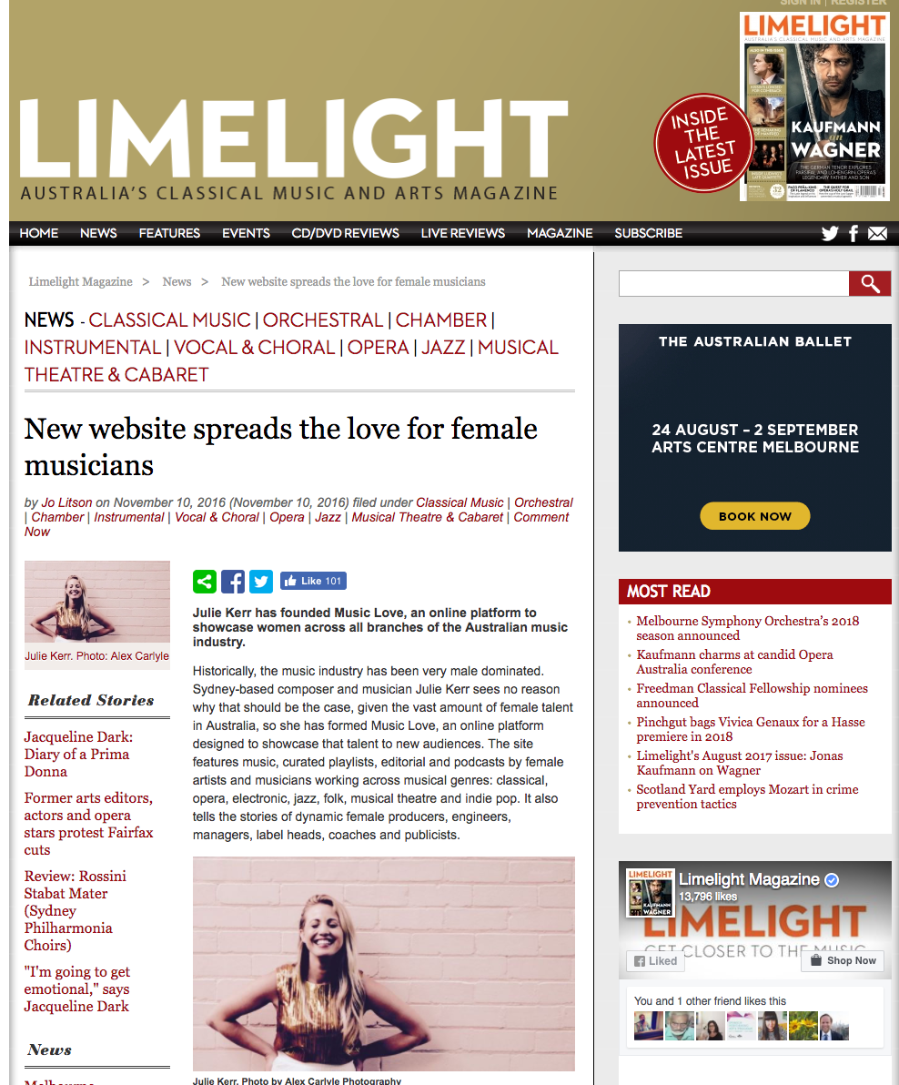 November, 2016. Julie Kerr in Limelight Magazine: New website spreads the love for female musicians