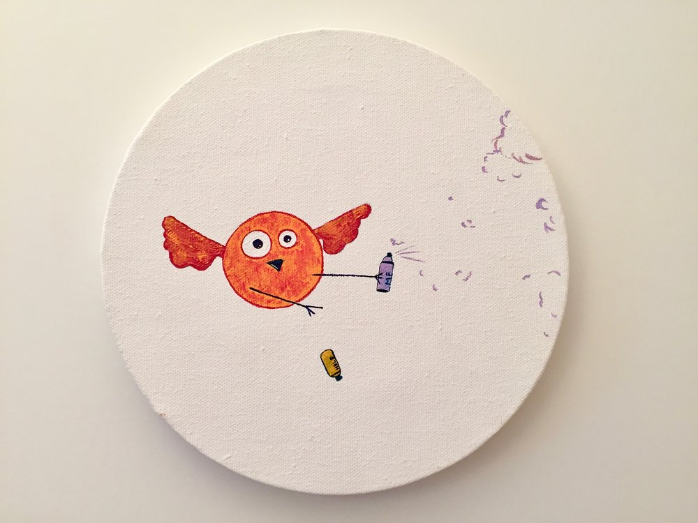 Help the graffiti bird  2013 Acrylics on canvas 20cm diameter  More information