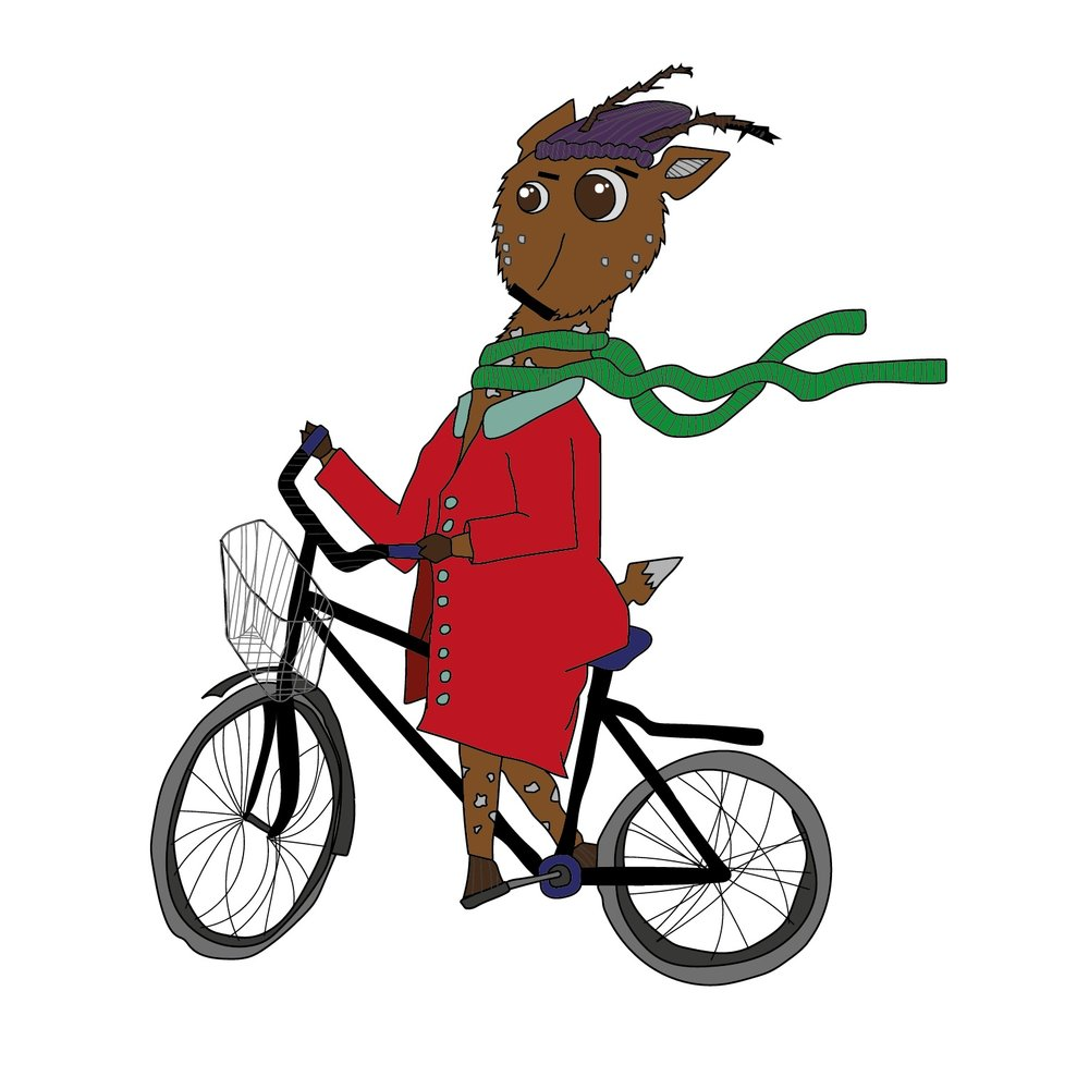 Diego the Deer rides his bike  2016 Digital illustration 1100 px x 1100 px  More information
