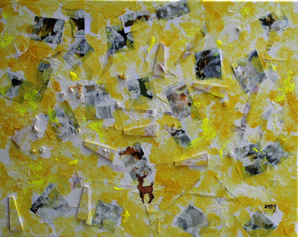 Yellow Mellow Doe  2009 Mixed media on canvas 55 x 70cm