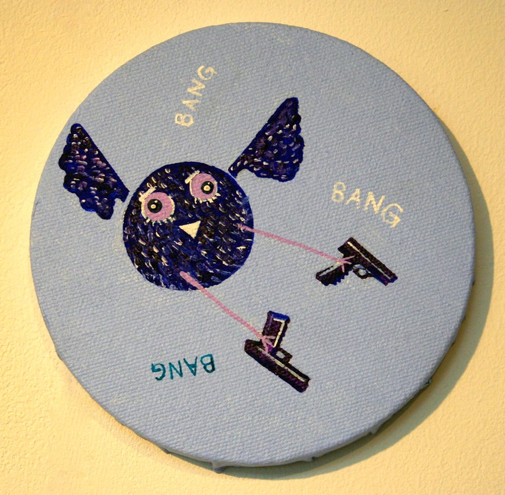 Bang bang bang  2012 Acrylics on canvas 10cm diameter