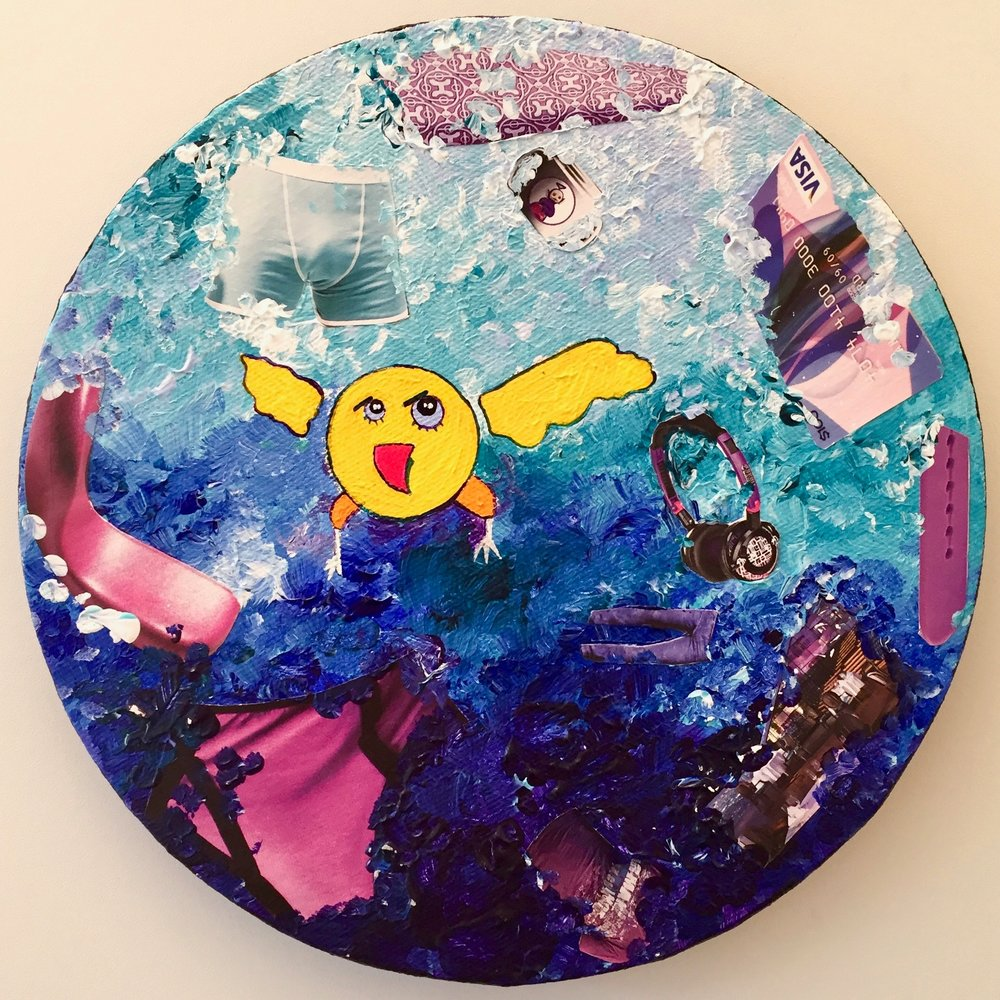 Shopping spree SMAYbird  2013 Mixed media on canvas 20cm diameter
