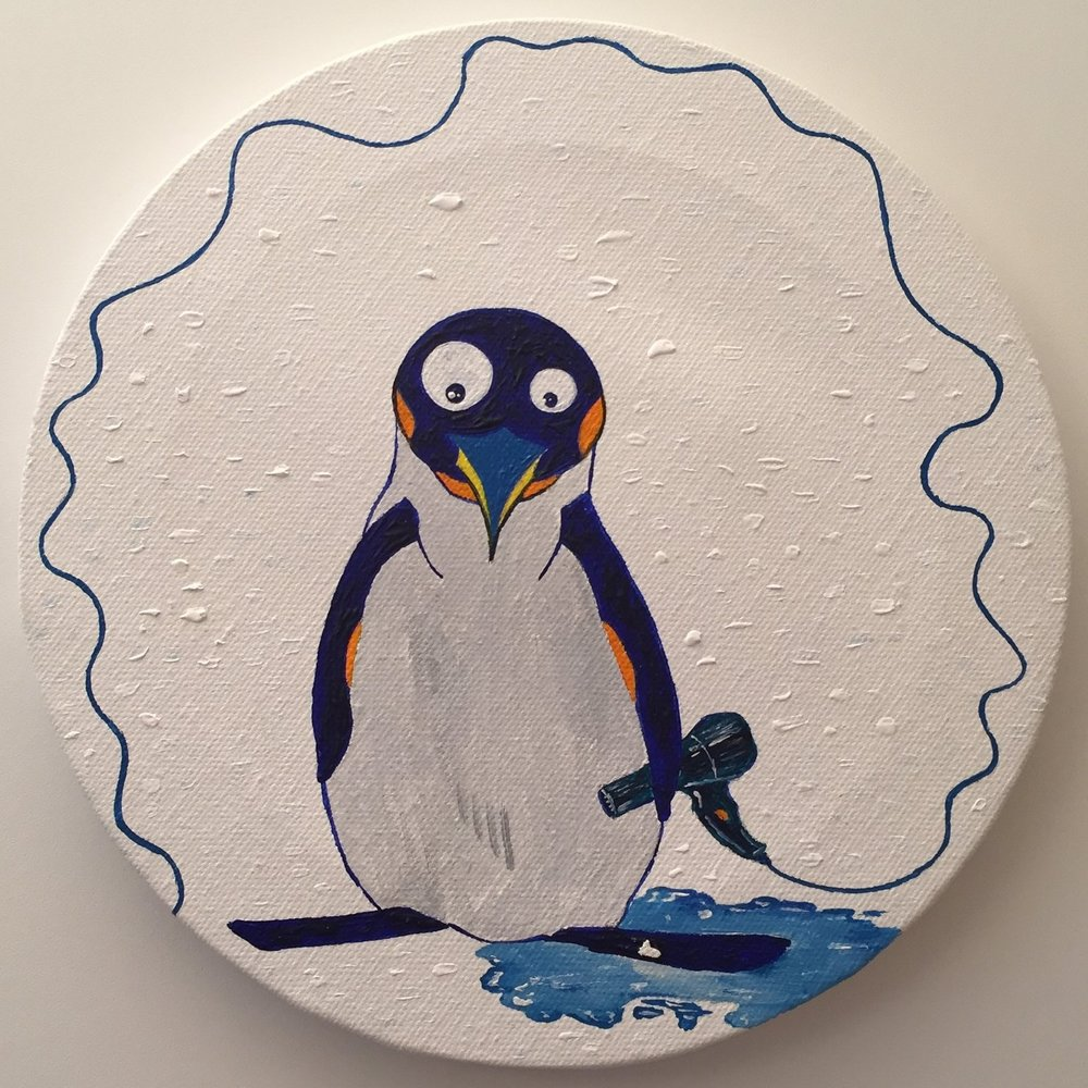 Suicidal penguin  2013 Acrylics on canvas 20cm diameter