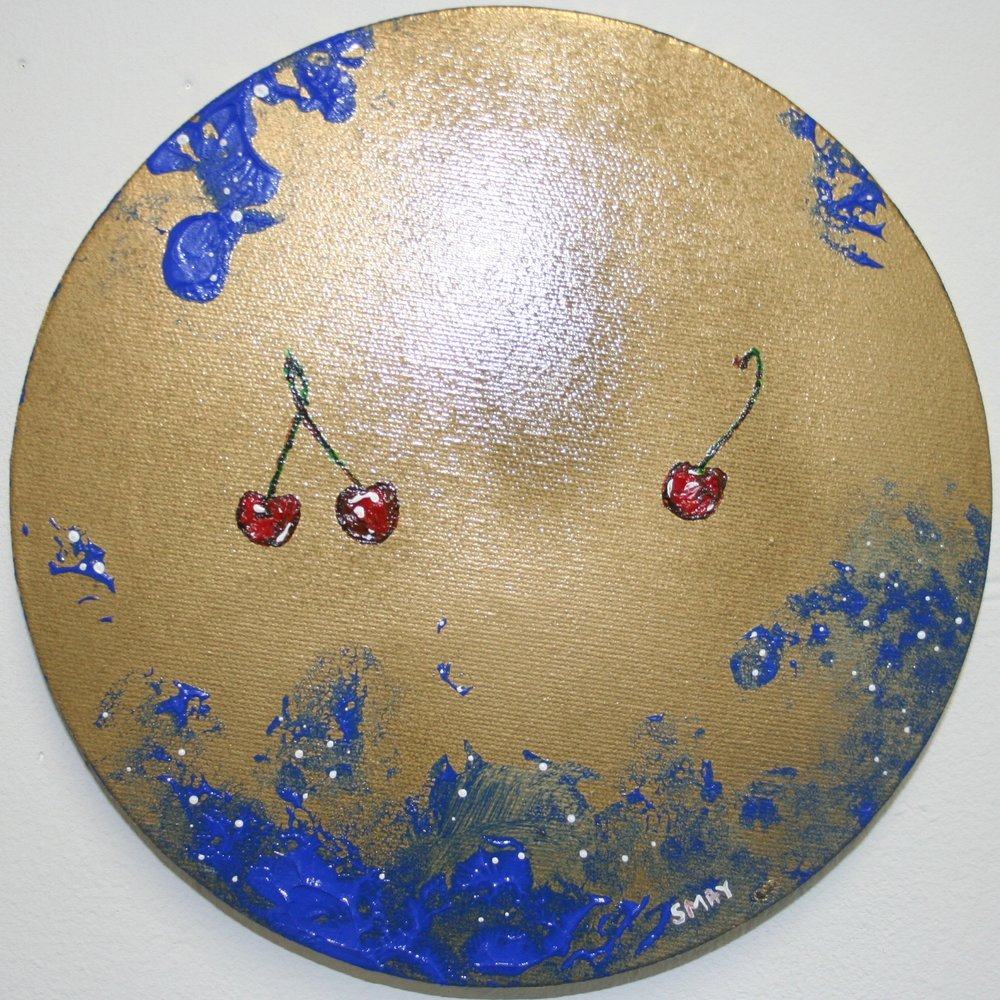 Uncheerful cherry  2012 Mixed media on canvas 20cm diameter