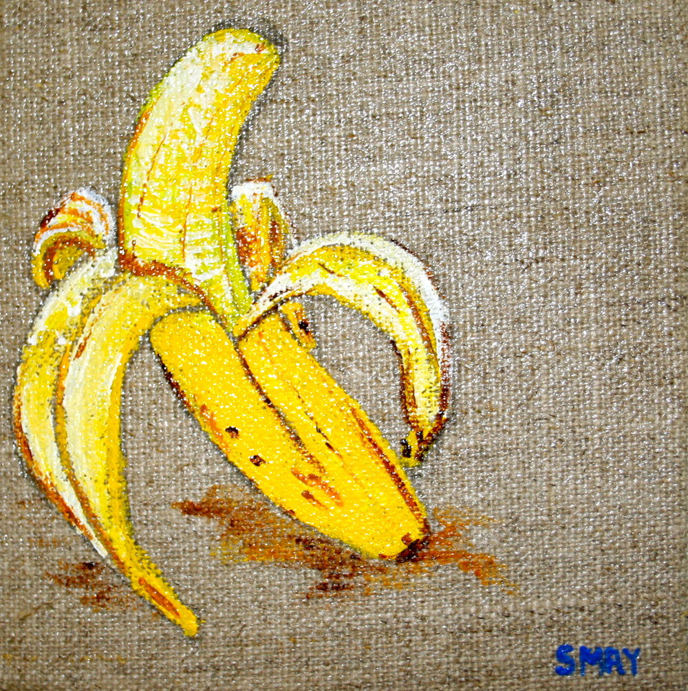 Banana dream  2012 Acrylics on canvas   10 x 10 x 4cm