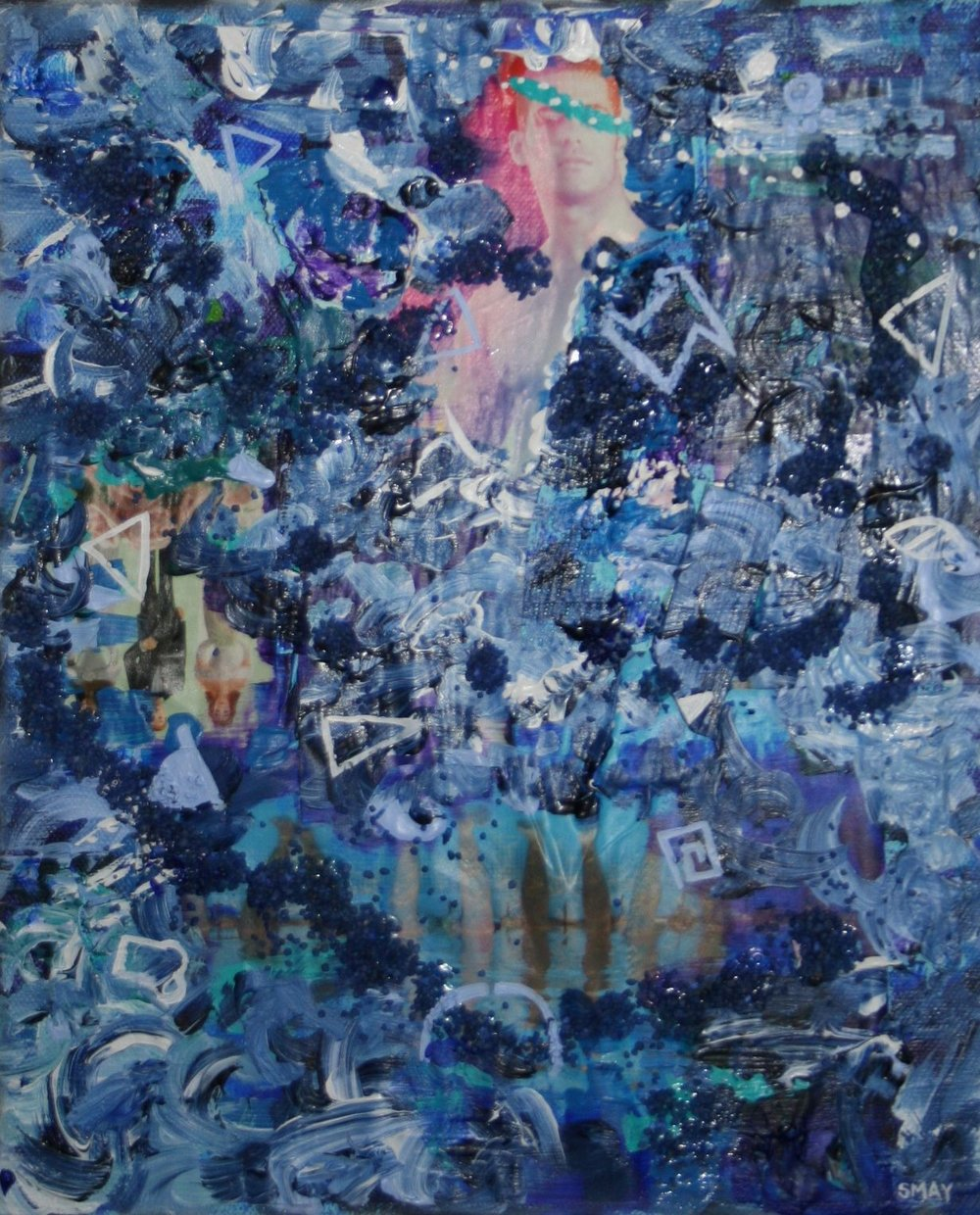 Blue triptych - Dipping in  2012 Mixed media on canvas 25 x 30cm