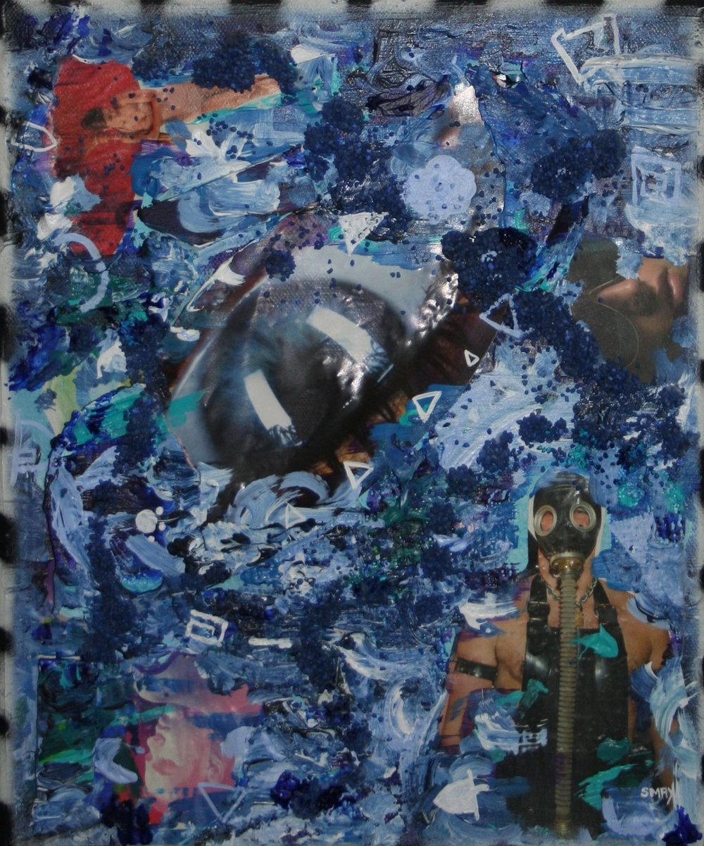 Blue triptych - Hold your breath  2012 Mixed media on canvas 25 x 30cm