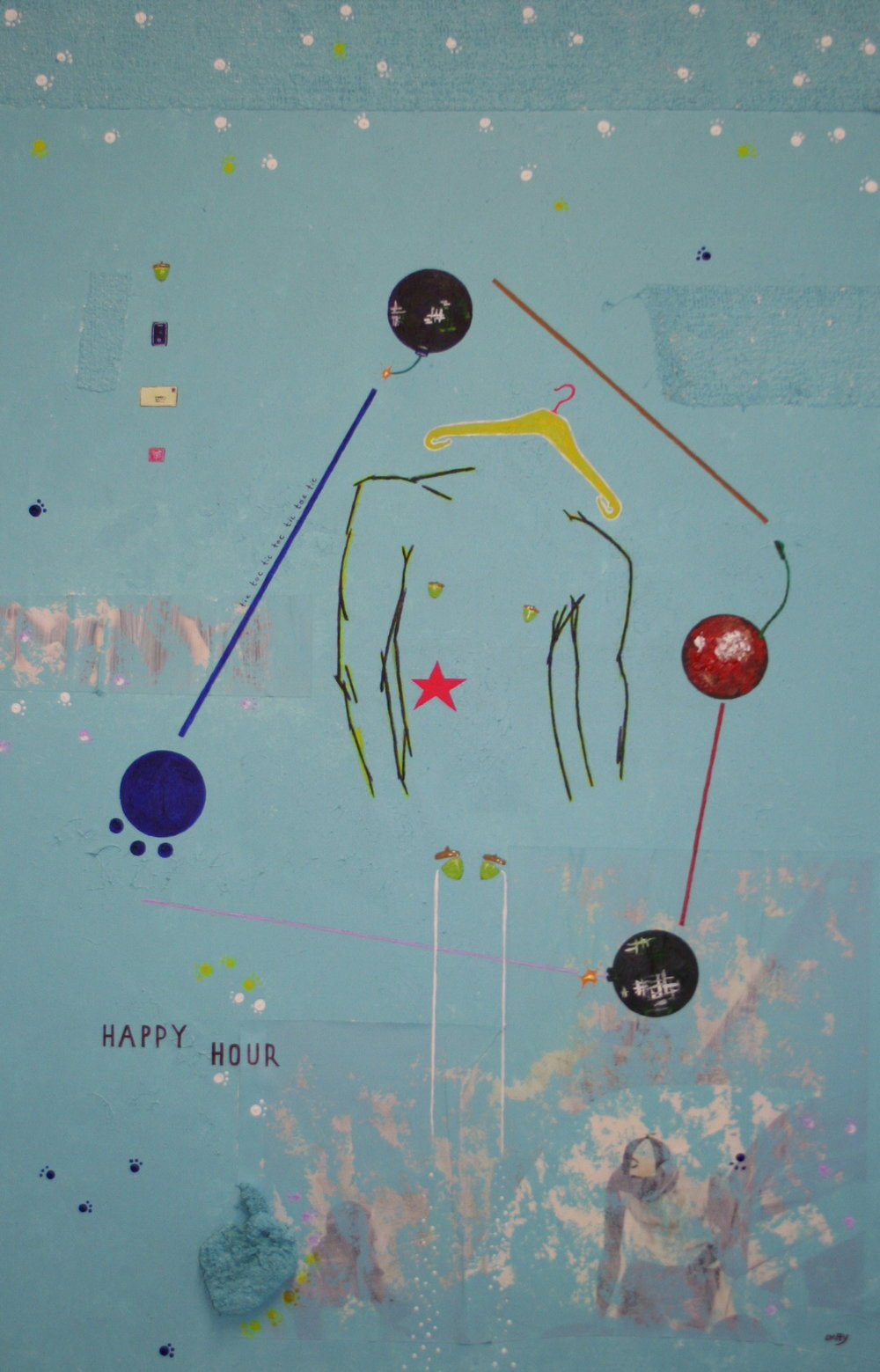Happy hour  2012 Mixed media on canvas 92 x 61cm
