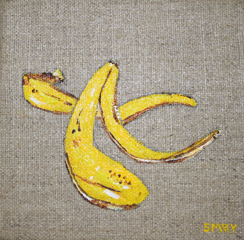 Step on my banana  2012 Acrylics on canvas   10 x 10 x 4cm