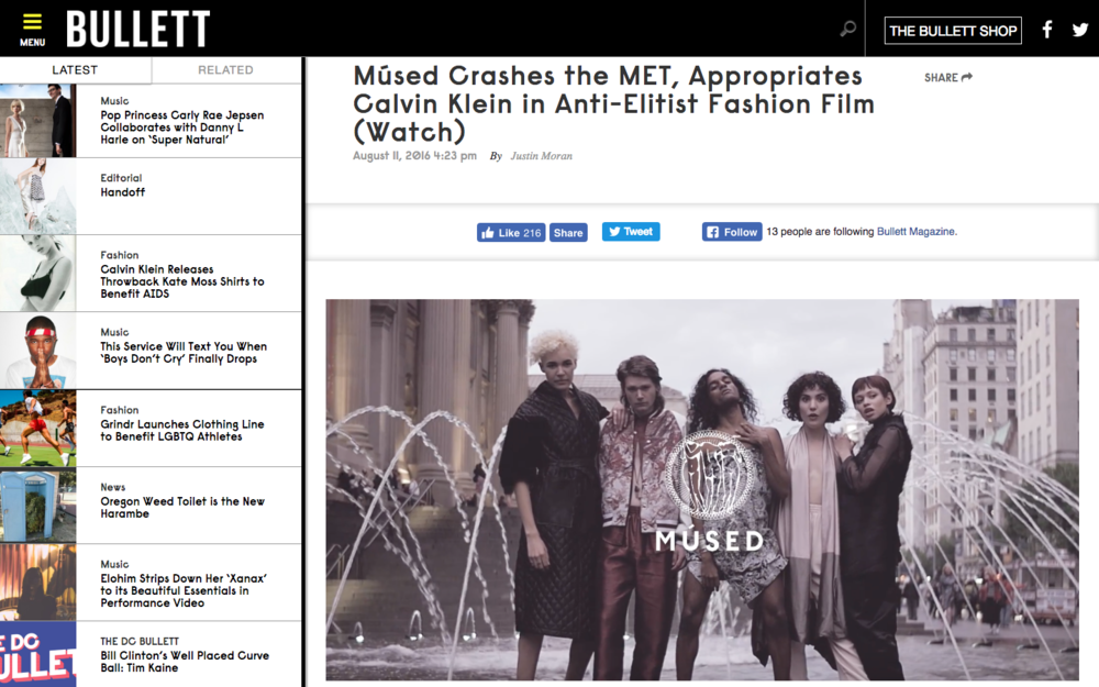 Músed Crashes the MET, Appropriates Calvin Klein in Anti-Elitist Fashion Film (Watch) - BULLETT MAGAZINE