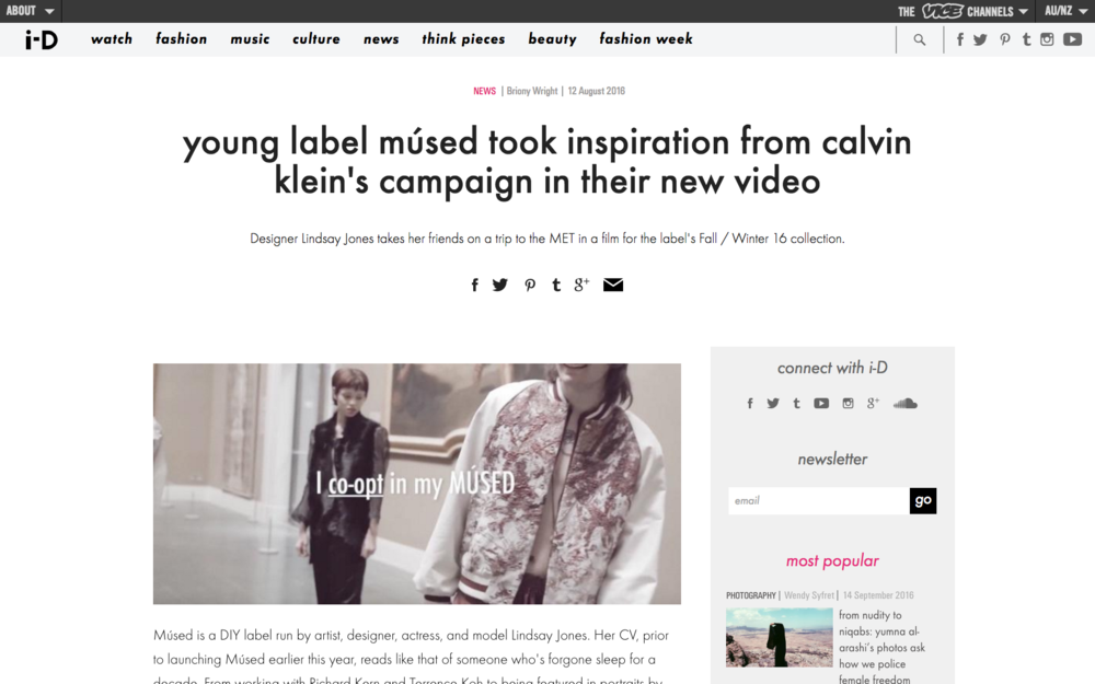 young label músed took inspiration from calvin klein's campaign in their new video - I-D Mag