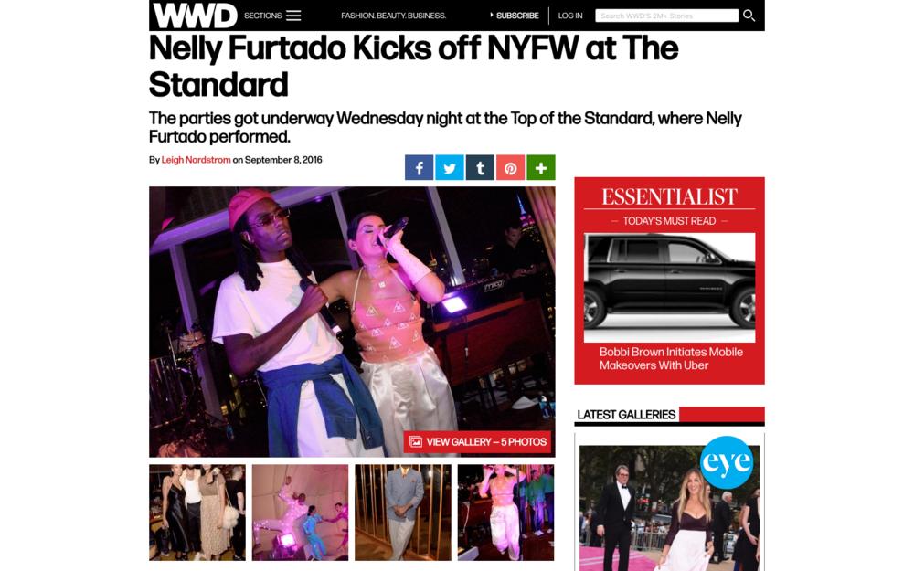 Nelly Furtado Kicks off NYFW at The Standard - WWD
