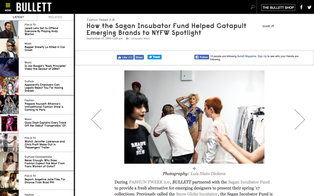 How the Sagan Incubator Fund Helped Catapult Emerging Brands to NYFW Spotlight - BULLETT MAGAZINE