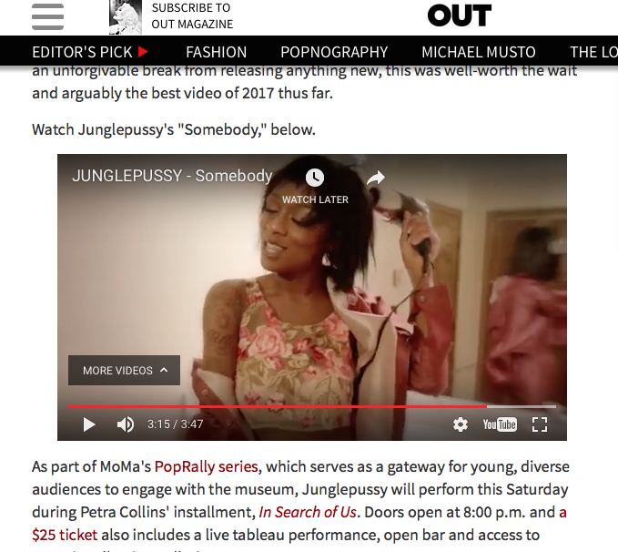 http://www.out.com/music/2017/3/14/junglepussys-hypnotic-somebody-music-video-best-2017 #OUT