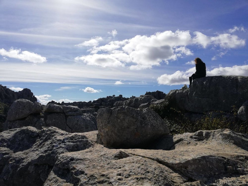 Drawing at the summit of El Torcal, Andalucia, Spain