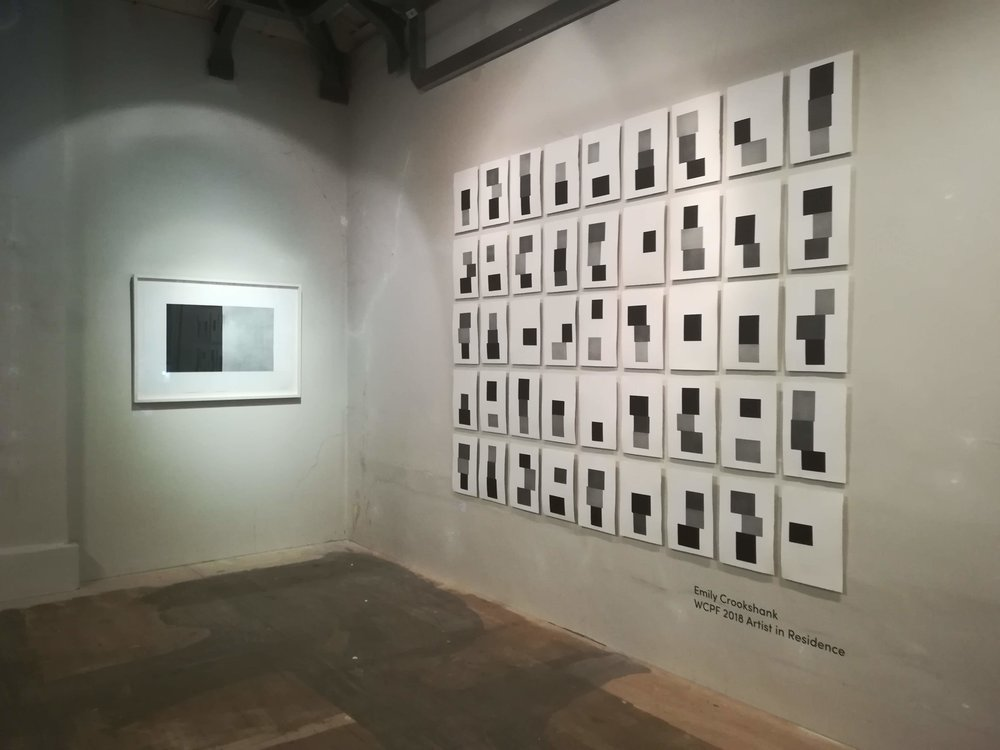 'Principles I' - Etching (Left) and 'Shuffle' - Installation of 46 Unique Etchings (Right)