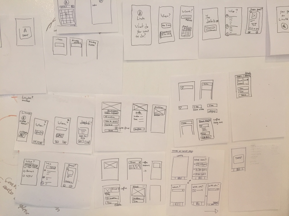 Sketched low-fidelity wireframes