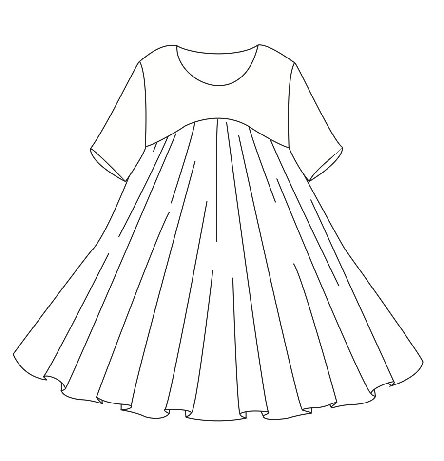 Flat sketch of original design pattern pieces drafted include full skirt full skirt