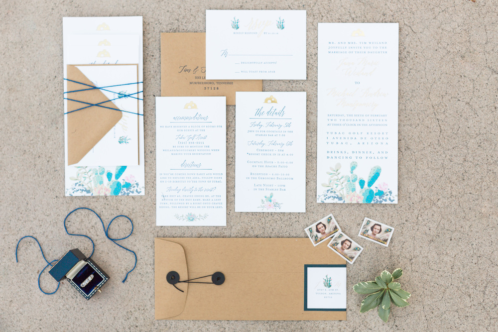 Gorgeous invitation suite by briedumaisdesigns.com | Tubac Golf Resort Wedding | Tubac Wedding Photographers | BetsyandJohn.com