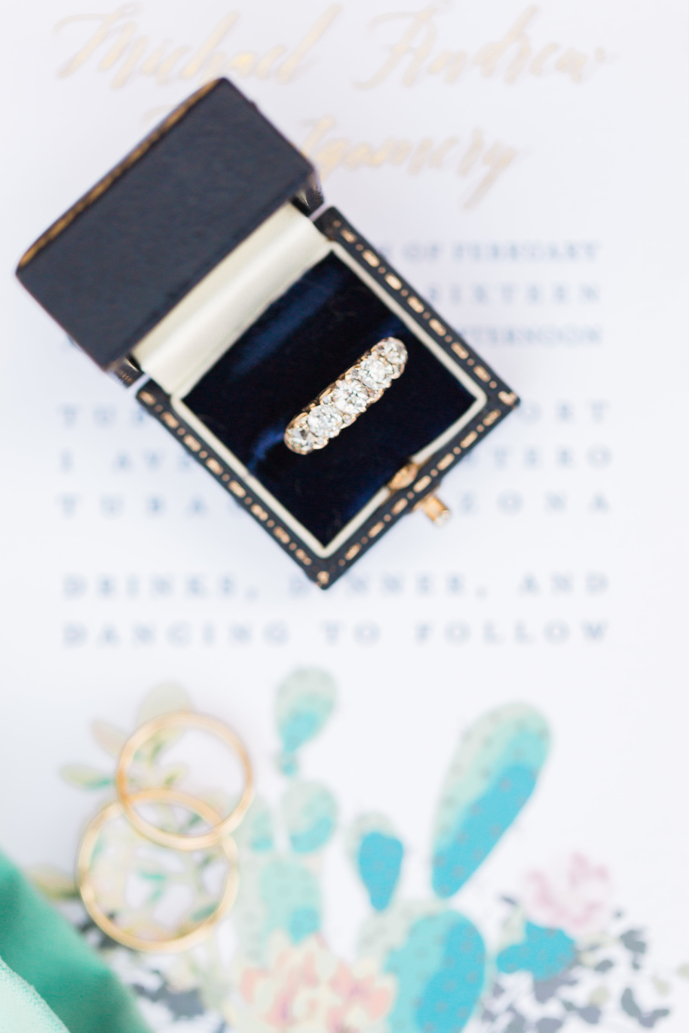 Gorgeous antique Lang jewelry box with gorgeous gold Tiffany wedding bands | Tubac Golf Resort Wedding | Tubac Wedding Photographers | See more at BetsyandJohn.com