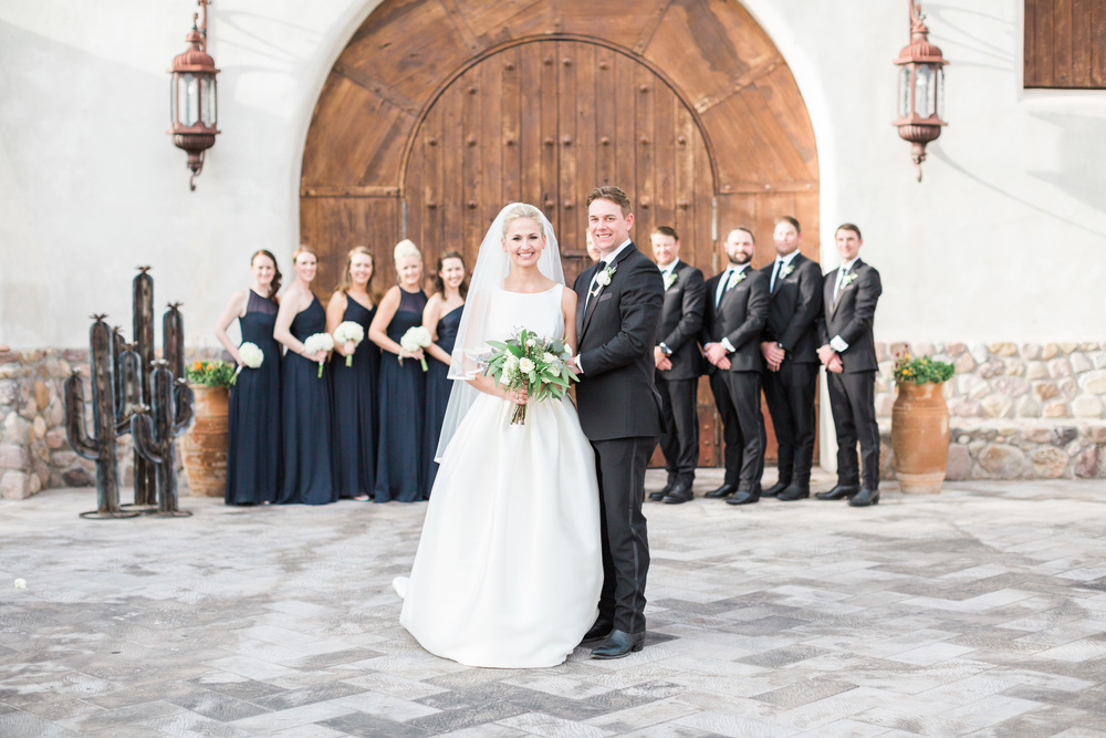Bridal Party Photos in front of the chapel at Tubac Golf Resort