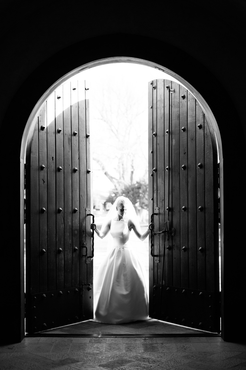 Gorgeous Bride in doorway at Tubac Golf Resort Wedding