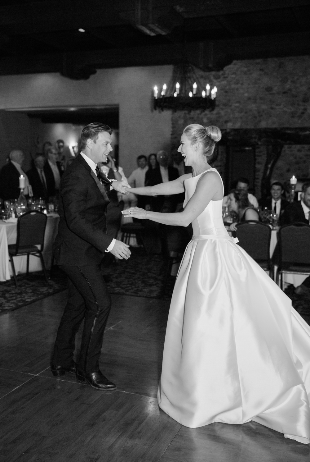 Bride and groom's first dance in black and white