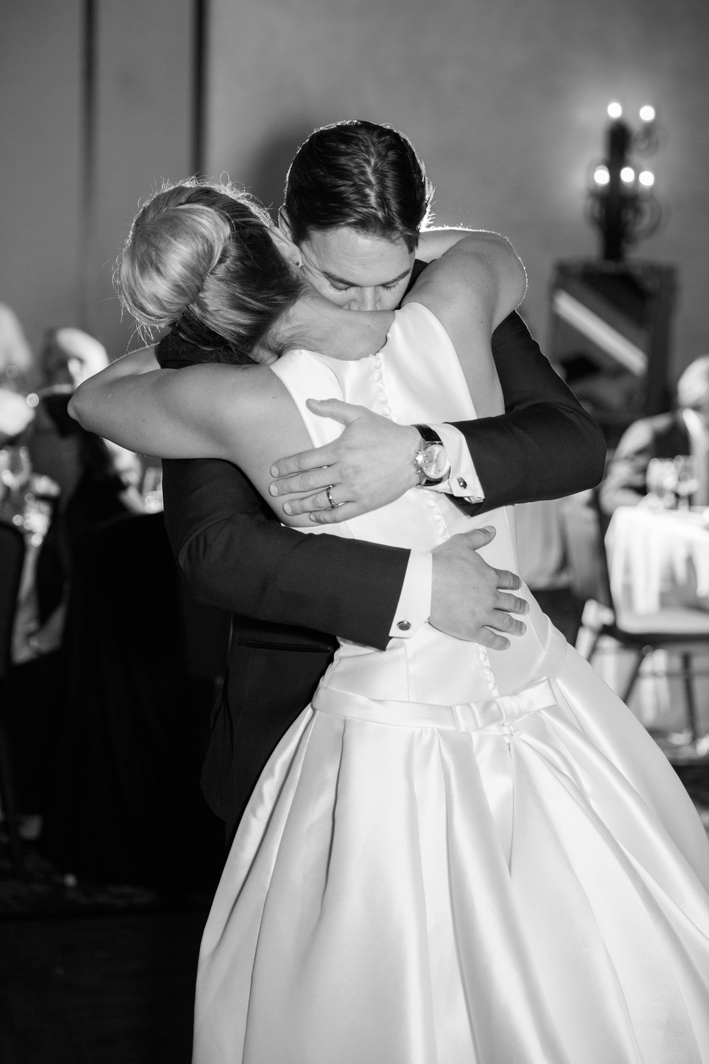 Emotional first dance in black and white