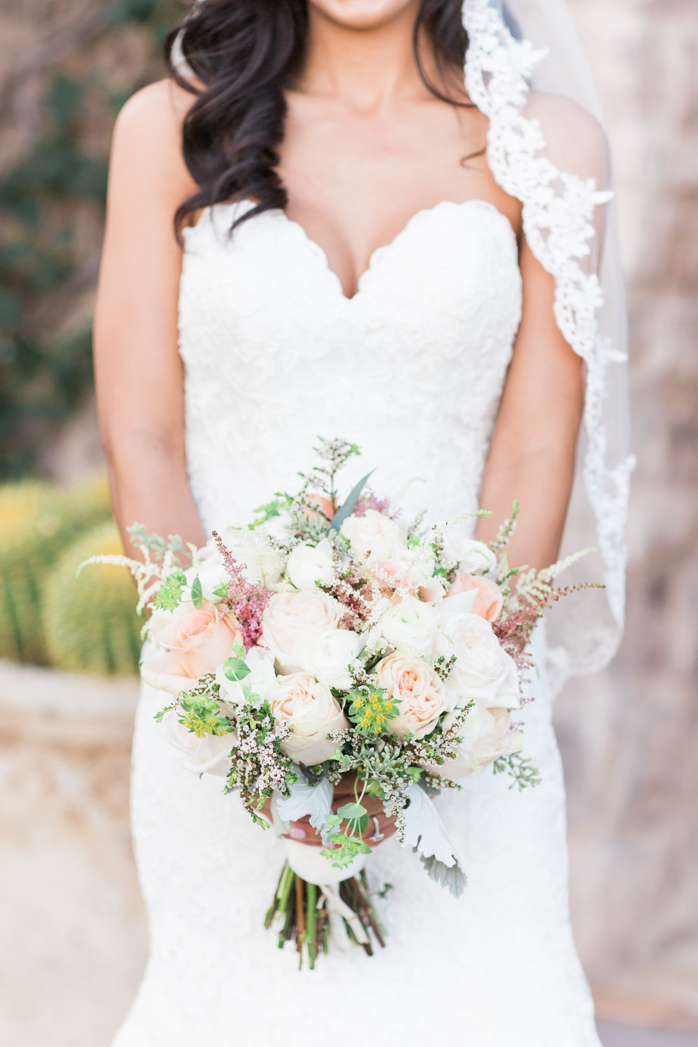 Blush and white natural bridal bouquet | Superstition Mountain Golf Club Wedding | Phoenix Wedding Photographers | See more at BetsyandJohn.com