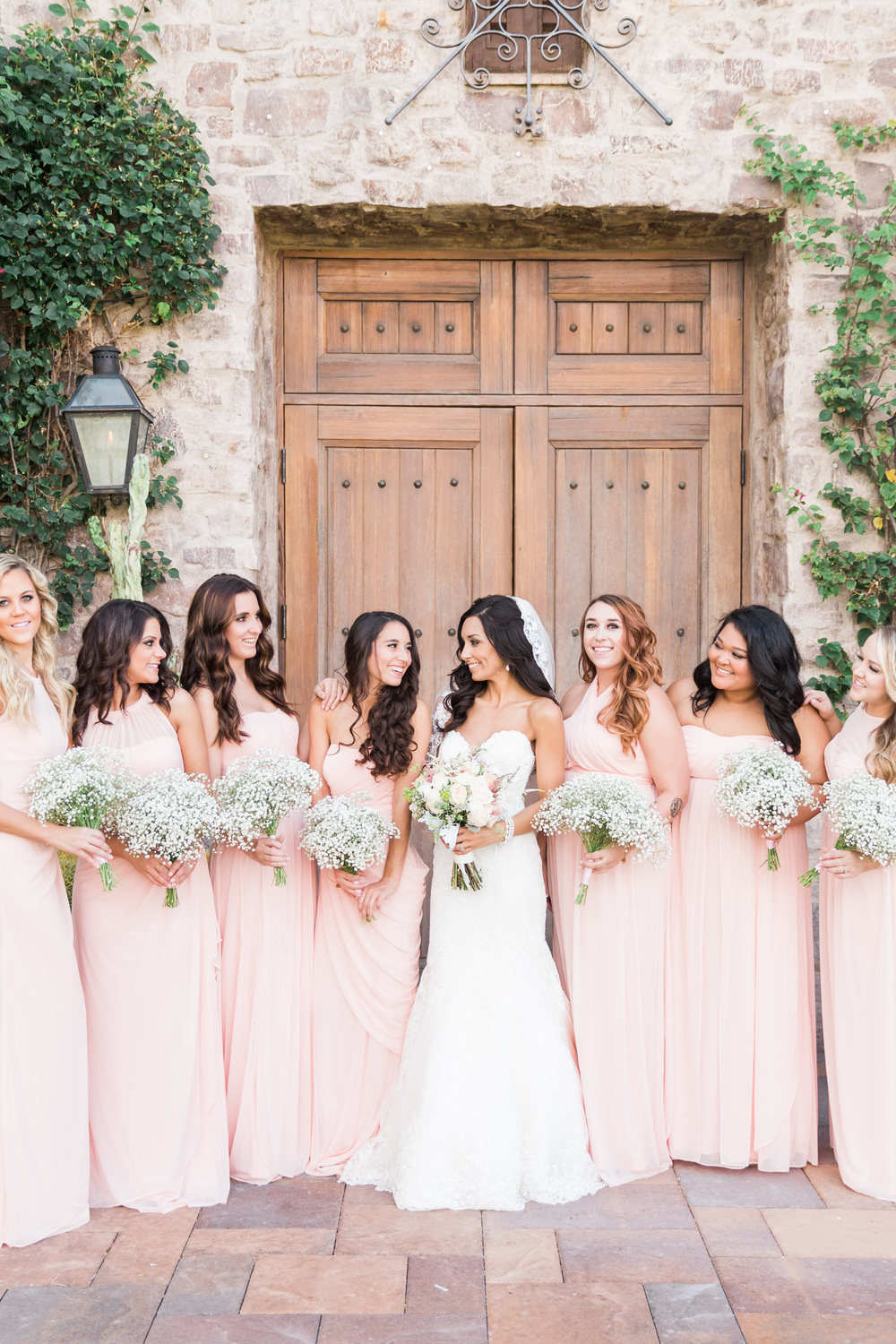 Blush Bridesmaids | Superstition Mountain Golf Club Wedding | Phoenix Wedding Photographers | See more at BetsyandJohn.com
