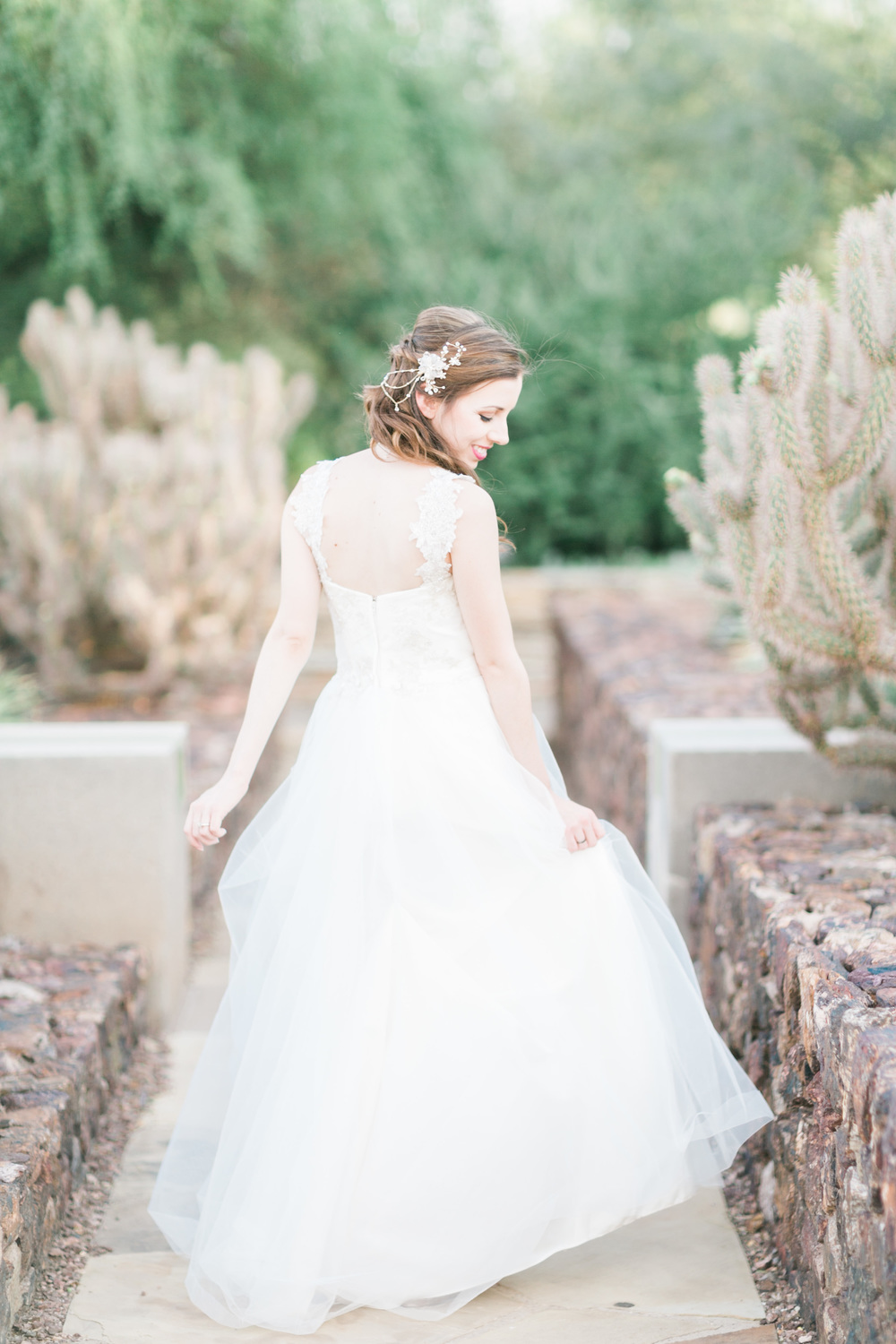 Phoenix Desert Botanical Gardens Wedding. Bride twirling in her dress