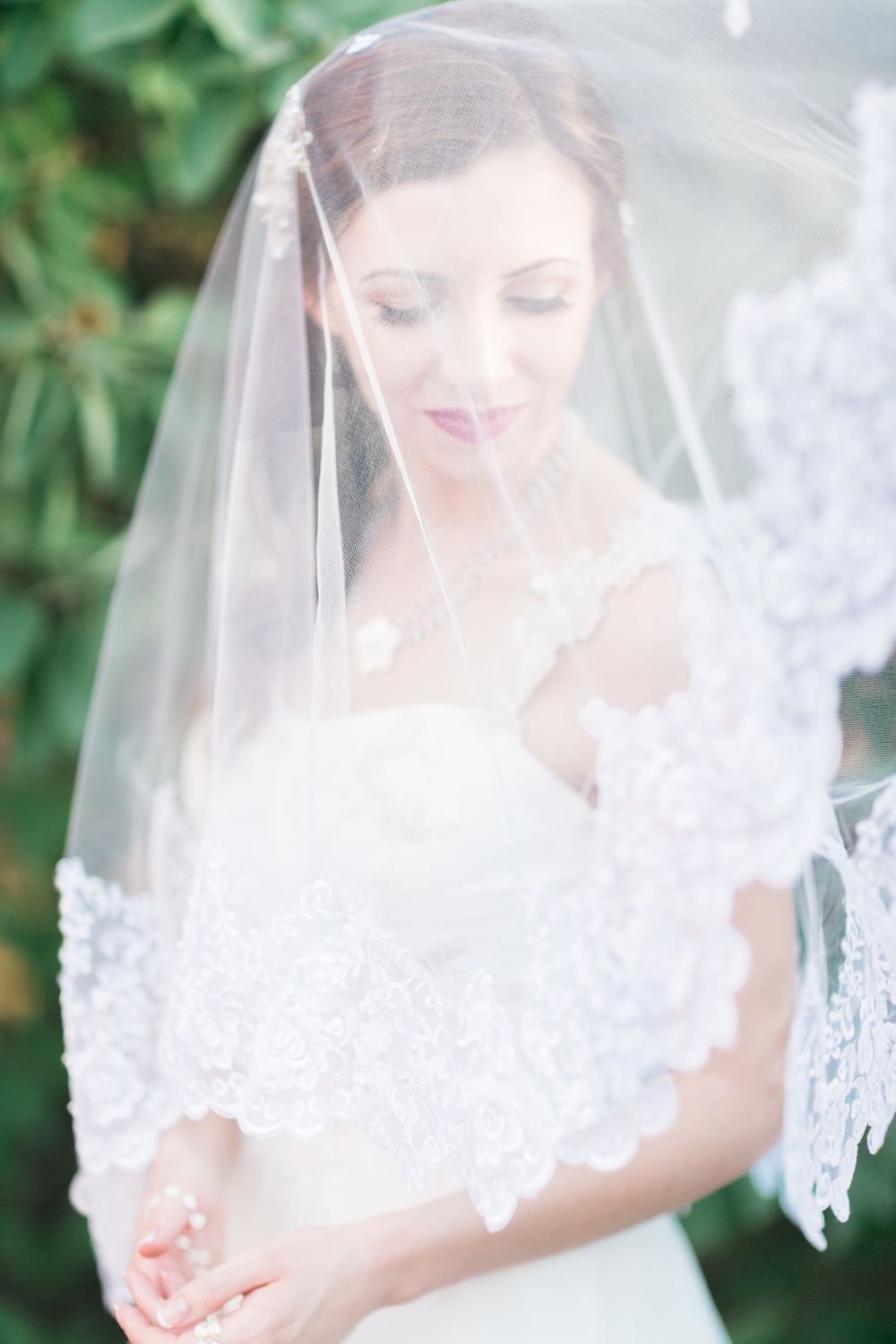 Bride under gorgeous lace edged veil