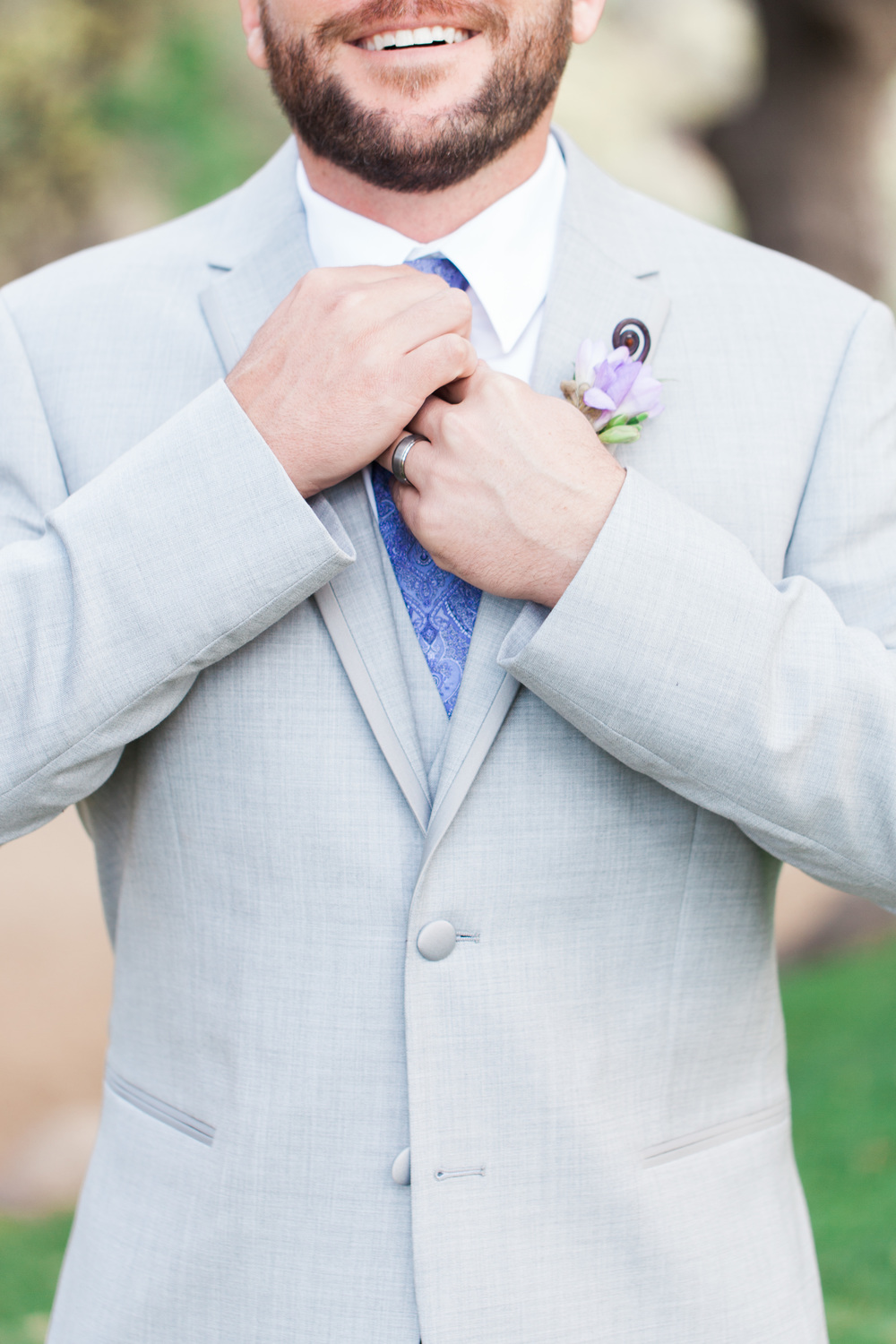 Groom in gray and purple | Van Dickson Ranch Wedding | Prescott Wedding Photographers | See more at BetsyandJohn.com