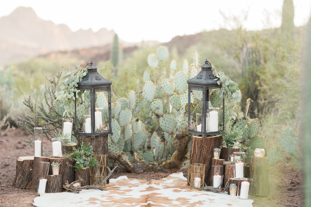 Beautiful desert set up with lanterns, candles and prickly pear cactus