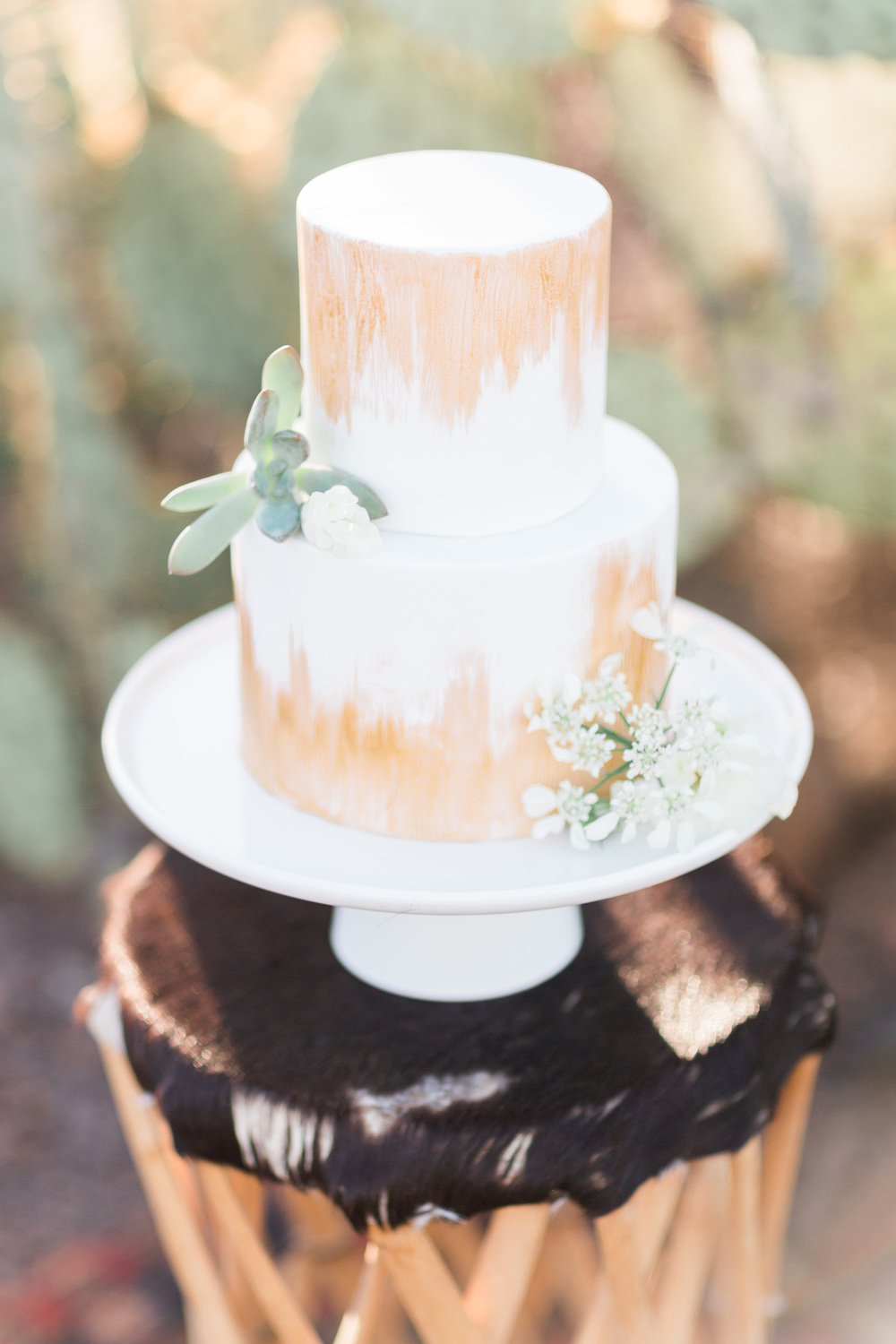 Beautiful white and gold two tiered cake with cactus in the background