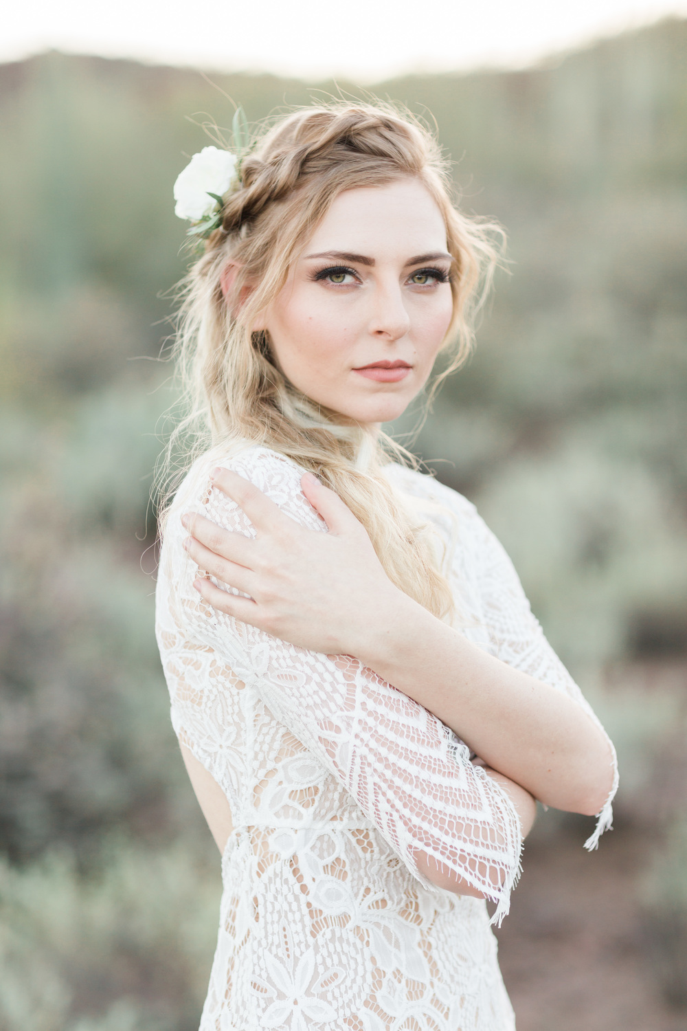 Gorgeous blond bride with braid and boho hair
