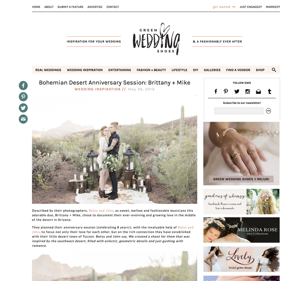 Romantic Tucson desert anniversary session by Betsy & John featured on Green Wedding Shoes