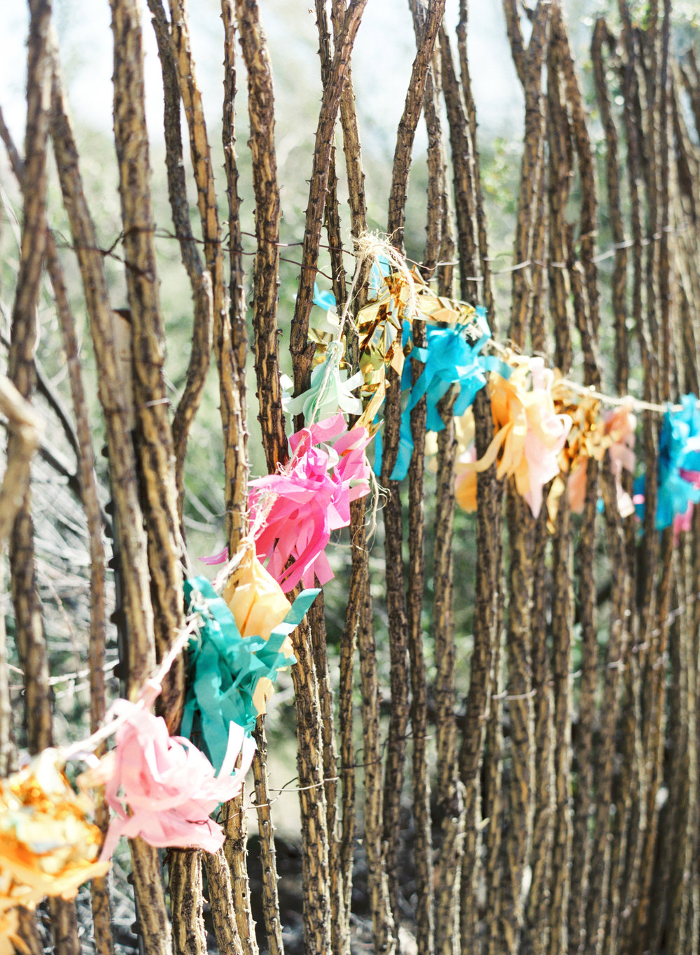 Bright and colorful hanging paper tassels