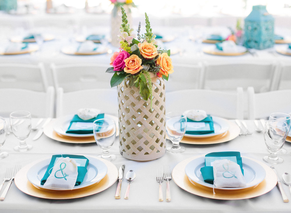 Spring Wedding Table Setting with lanterns and florals