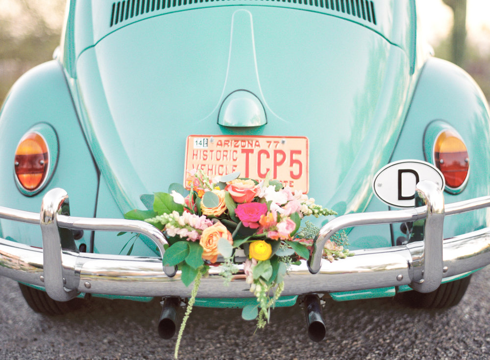 Vintage car decorated with florals by Alexis Grace Florals