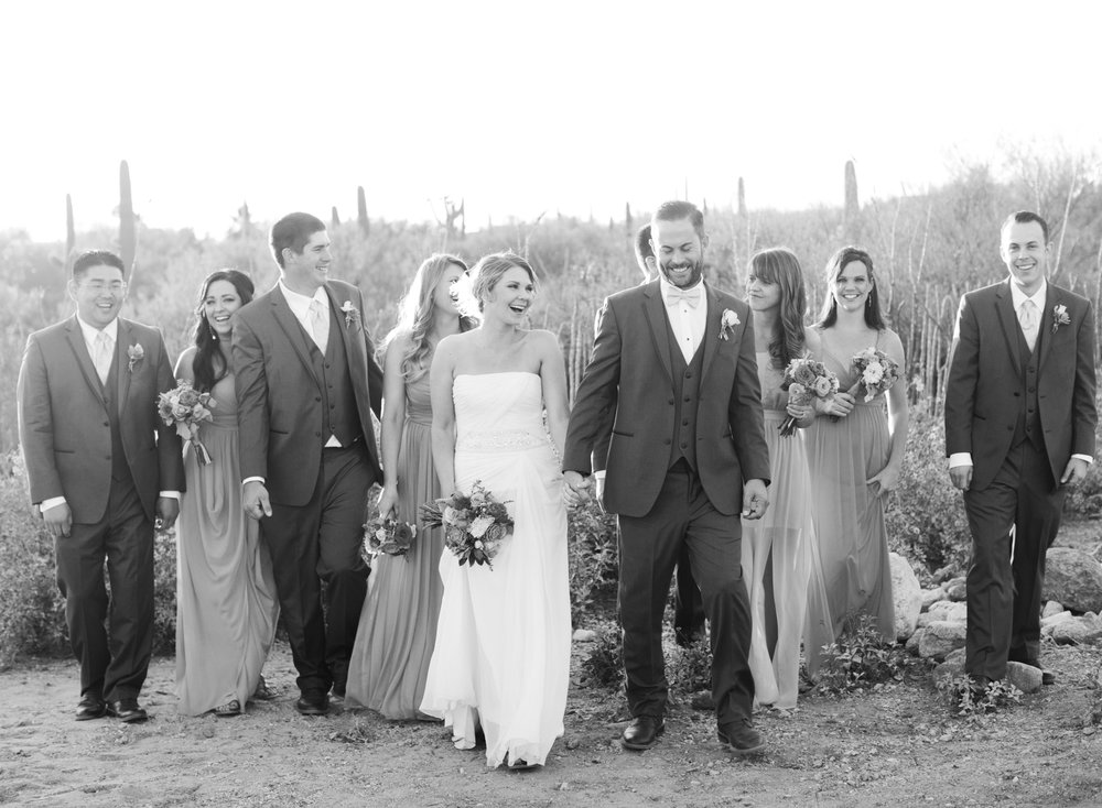 Bridal Party walking and smiling