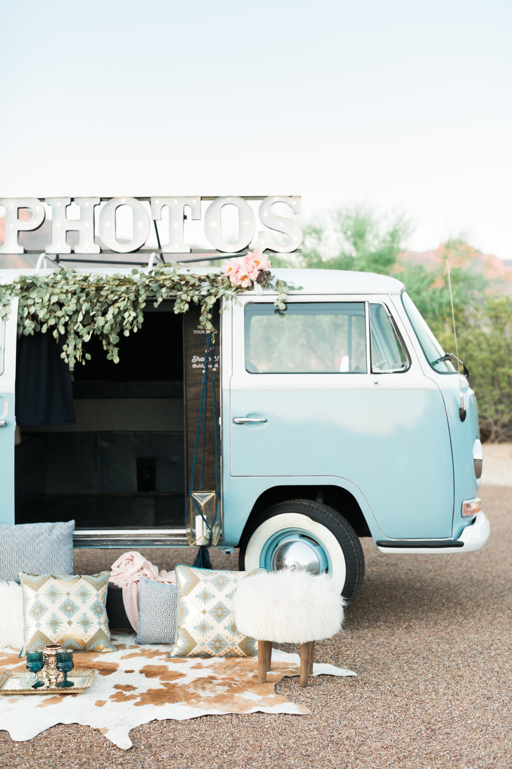 Vintage baby blue Volkswagen bus, converted into a photo booth, the Ohhh Booth!