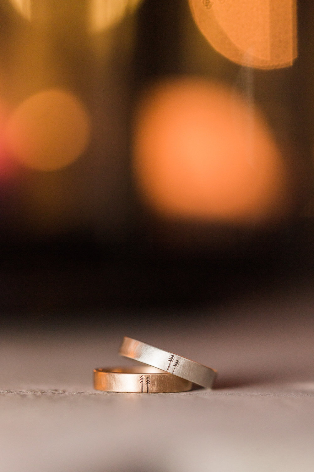 Pine tree wedding rings